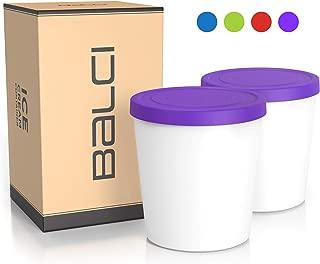 BALCI - Premium Ice Cream Container (2 PACK - 1 Quart Each) Perfect Freezer Storage Tubs with Lids for Ice Cream, Sorbet and Gelato! (PURPLE)