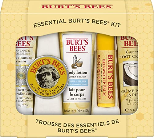 Burt's Bees Gift Set, 5 Essential Products, Deep Cleansing Cream, Hand Salve, Body Lotion, Foot Cream & Lip Balm, Tra...