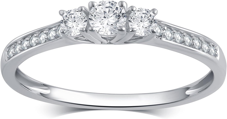 1/4 Carat Diamond, Prong Set 10K White Gold Round-cut Diamond Engagement Wedding Bridal Finger Ring for Women Teen Girls (I-J, I2-I3) Real Diamond Fine Jewelry |by La4ve Diamonds |Gift Box Included