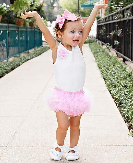 RuffleButts Baby//Toddler Girls Pink//White Handmade Knit Beanie w//Bow