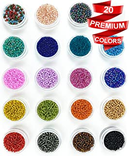 Modda Small Glass Seed Beads Kit - 2mm Tiny Round Colorful Craft Beads for Diy Bracelets, Earrings, Key Chain, Jewelry Making - 20 Colored Mini Spacer Bead Set with Elastic String and Beading Needle