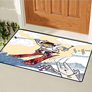 RelaxBear Kids Decor Front Door mat Carpet Cute Boy Skier Sliding Down and Jumping from The Snow Cliffs with Dog Graphic Machine Washable Door mat W15.7 x L23.6 Inch Multicolor