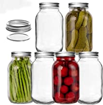 LEQEE Mason Jars 32 oz (1 Quart) with Silver Lids and Bands Regular Mouth, Canning Jars for Meal Prep, Food Storage, Drink...