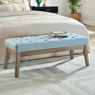 24KF Velvet Upholstered Tufted Bench with Solid Wood Leg,Ottoman with Padded Seat-Seaglass