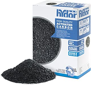 Hydor Activated Carbon Salt Water Professional External Canister Filter Media – Low Ash Content for Saltwater Aquariums – Produces Crystal Clear Water – Includes Mesh Bag – 400 GM Pouch