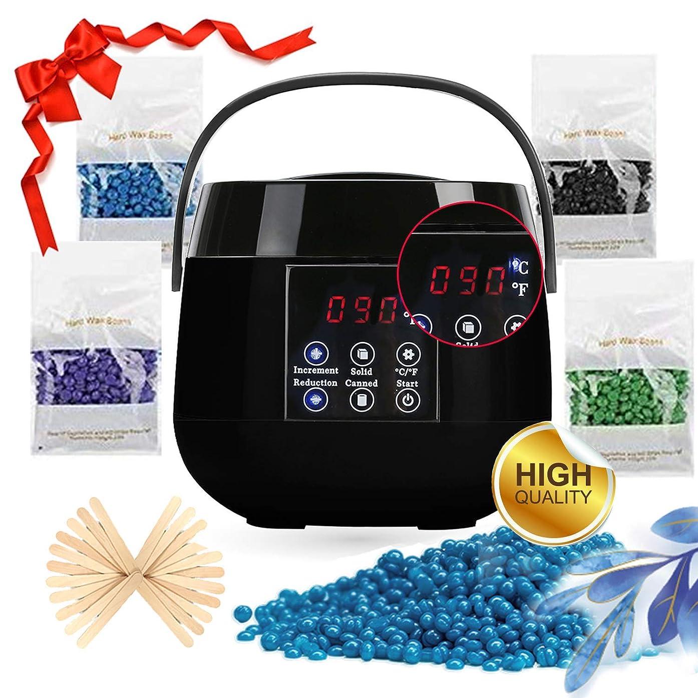 Wax Warmer Kit, Digital Screen Wax Warmer Hair Removal with 20 Wax Applicator Sticks and 4 Flavor Hard Wax Beans for Arm, Leg,Toe and Bikini Area
