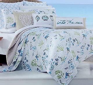 Sigrid Olsen Home Twin Quilt Set - Exotic Bright Under The Sea Tropical Island Ocean Life in Coastal Aqua Blues and Greens with Soft Subtle Script