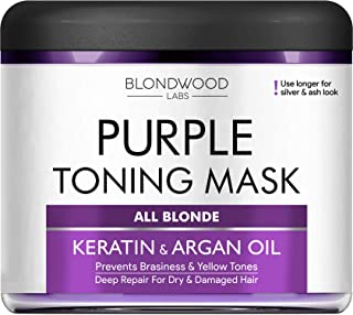 Purple Hair Mask - Remove Yellow & Overtones for Blonde Hair, Platinum & Ash Hair - Made in the USA - Goes Well with Purple Shampoo - for Brassiness with Retinol and Keratin - Overtone Purple - 8 oz