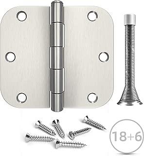 Hosom 3.5 Inches Door Hinges Brushed Nickel - 18pcs Interior Door Hinges, 6pcs Spring Door Stops - 5/8''Rounded Corner Hinge