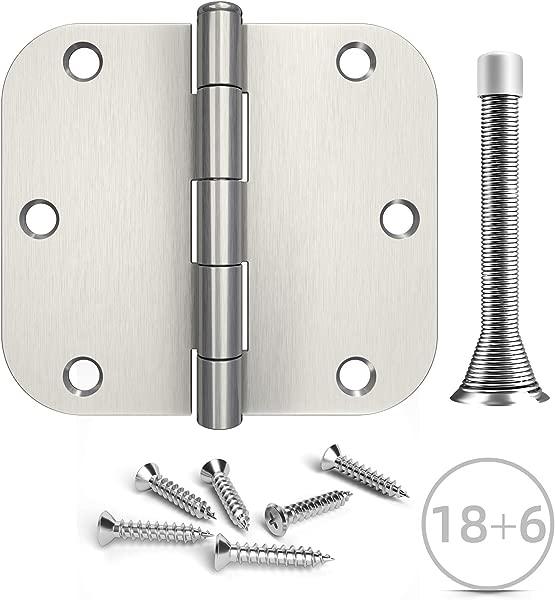 Hosom 3 5 Inches Door Hinges Brushed Nickel 18pcs Interior Door Hinges 6pcs Spring Door Stops 5 8 Rounded Corner Hinge
