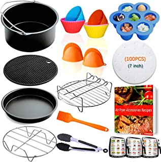 NUMARDA Air Fryer Accessories 7 inch,for Phillips Gowise Ninja Cozyna Cosori Nuwave Air Fryer Accessories Fit 2.75,3.2,3.5,3.7,4.2QT,Deep Fryer Accessories,FDA Compliant,Dishwasher Safe with Cookbook
