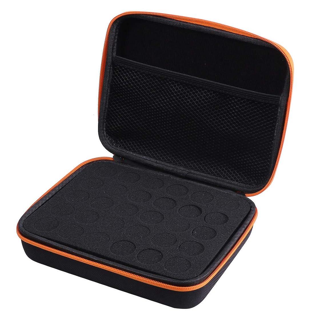 タイル表面的な縫うFrcolor エッセンシャルオイル ケース 携帯用 アロマポーチ アロマケース メイクポーチ 精油ケース 30本用(オレンジ)