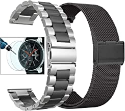 Valkit Compatible with Galaxy Watch 46mm Bands Sets, 2-Pack 22mm Stainless Steel Solid Wrist Band Metal Strap Bracelet+Screen Protectors Replacement for Galaxy Watch 46mm/Gear S3 Frontier/Classic