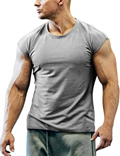 Men's Gym Workout T Shirt Short Sleeve Muscle Cut Bodybuilding Training Fitness Tee Tops