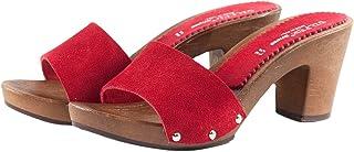 Silfer Shoes - Zoccolo in Pelle Scamosciata, Colore Rosso, Art. Noemi -Ideale Anche per Stare in casa