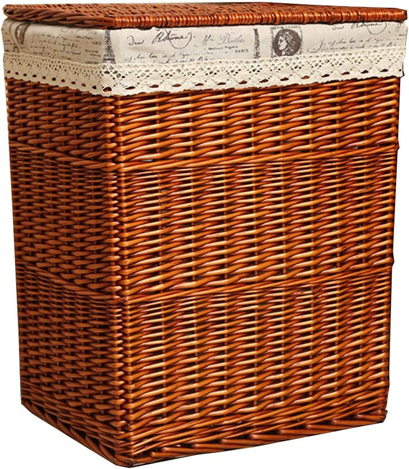 ZHANGQIANG Storage Basket Laundry Basket Laundry Storage Basket Collapsible Hamper with Lid Handle and Detachable Lining Rectangular Natural Bamboo, Brown (color   Brown Iron Cloth, Size   Large)