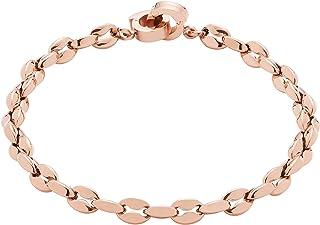 JEWELS BY LEONARDO DARLIN'S damesarmband Ferrera, roestvrij staal IP roségoud met ovale kettingschakels, CLIP & MIX-systee...