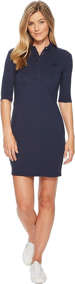 1/4 Sleeve Classic Stretch Mini Pique Polo Dress