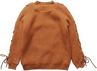 Chica Manga Larga Suéter de Punto de Encaje Hasta Cuello Redondo Lindo Jersey Otoño Invierno Cálido Niños Prendas de Punto...