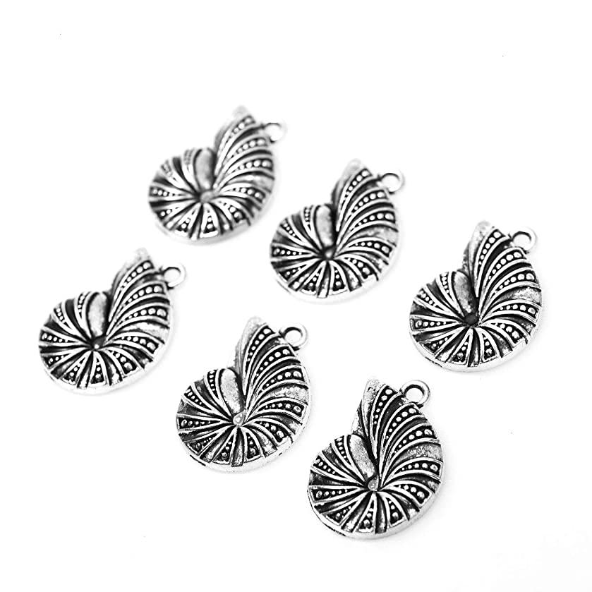 Monrocco 30pcs Charm Spiral Seashell Charm for Jewelry Making Bracelets DIY Keychains 23x16mm.