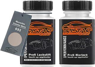 TRISTARcolor Autolack Lackstift Set für Mercedes/Daimler Benz 693 Travertinbeige Metallic Basislack Klarlack je 50ml