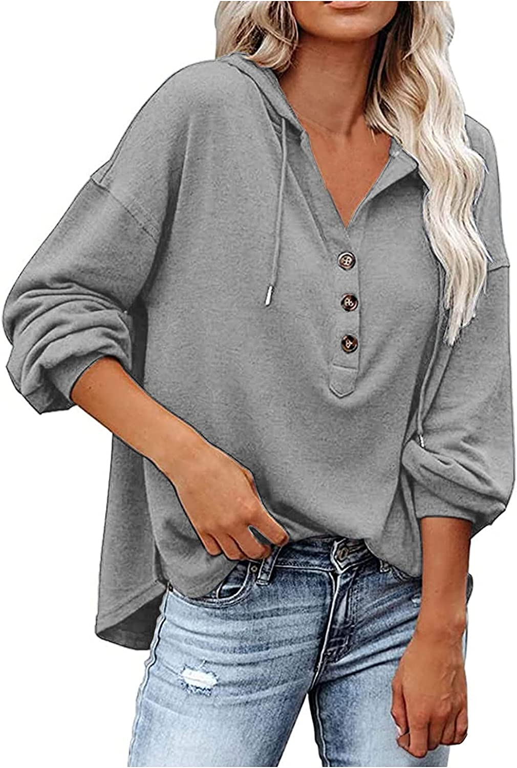 Womens Long Ranking TOP8 Sleeve Tee Shirt with Pullov Now on sale V Button Sexy Neck Hood