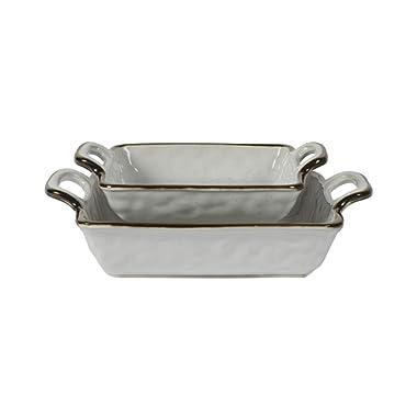 Tabletops Gallery Geneva Serveware Collection- Farmhouse White Brown Stoneware Serving Bowl Platter, 2 Piece Nesting Square Baking Dish Set
