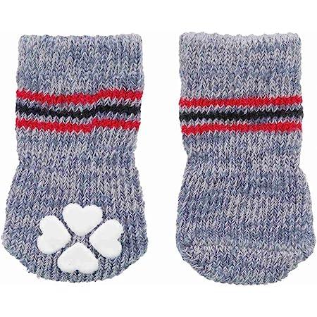 Trixie 19504 Non-Slip Grey Dog Socks, L-XL, 1 Pair