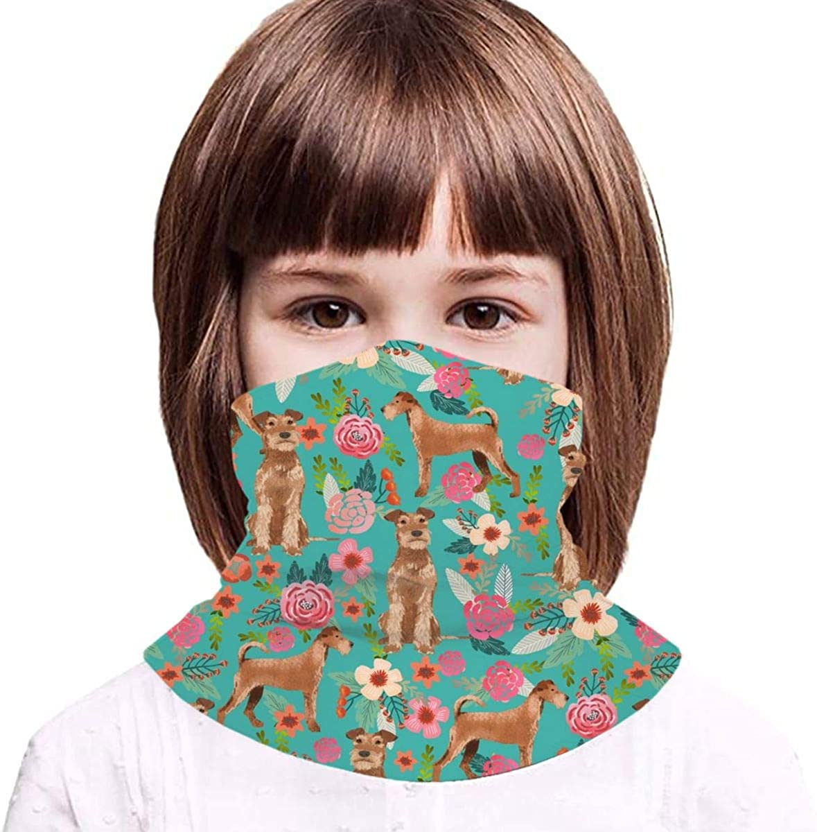 Irish Terrier Floral Dog Turquoise Kids Face Mask Dust Sun UV Protection Neck Gaiter Balaclava Face Cover Scarf Summer Breathable for Cycling Fishing Outdoors