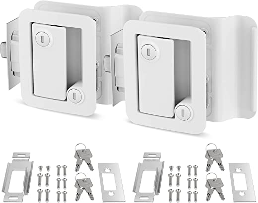 Kohree RV Entry Door Lock Latch Handle with Paddle Deadbolt, Polar White Enclosed Trailer Camper Door Latch RV Door Lock Replacement with 4 Keys--Universal Entrance Security Lock Kit, 2 Pack