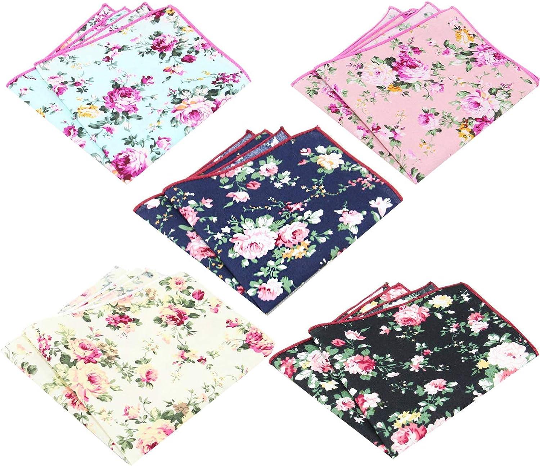 Men's Cotton Floral Handkerchief Pocket Square
