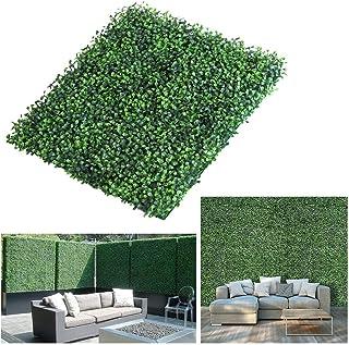 QFYZYZ - Panel de privacidad de madera de boj artificial realista y grueso, 20 x 20 pulgadas, protección UV, decoración de pared para interiores y exteriores, plantas falsas de seto (1)