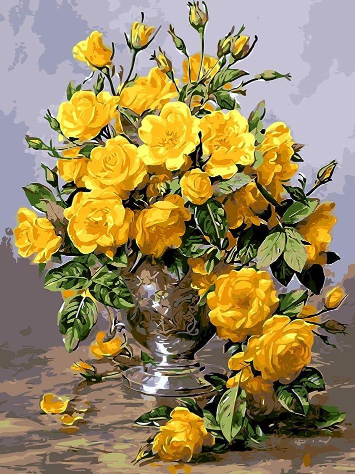 怖がらせるビン広げるヴィンテージ花瓶黄色菊菊diy風景デジタル油絵による数字抽象キャンバス絵画用リビングルーム壁アート