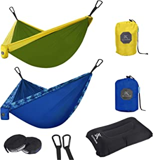 Extremus Double Body Sling Camping Hammock , Yellow/Olive Green, 10ft x 6.6ft
