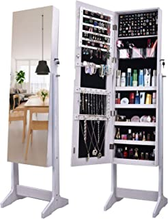 AOOU Jewelry Organizer Jewelry Armoire with Full Length Mirror, Standing Storage Lockable Jewelry Cabinet, 5 Different Depth Compartments, 3 Adjustable Angle (White)
