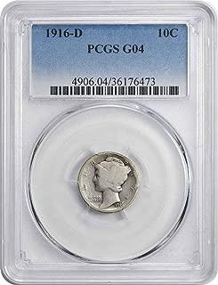 1916 D Mercury Silver Dime G04 PCGS