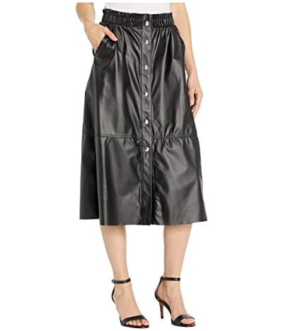 Blank NYC Faux Leather A-Line Skirt with Snap Detail (Onyx) Women
