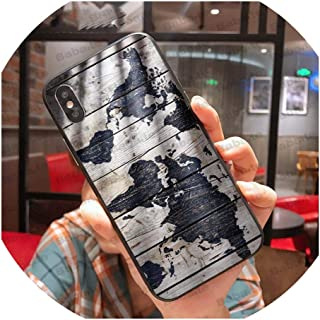 Travel in The World map Plans Black Cell Phone Case for iPhone X XS MAX 8 7 6S Plus 5S SE XR Cell Phones,for iPhone Xs MAX,A10