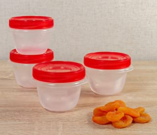 Rubbermaid TakeAlongs Twist & Seal Food Storage Containers, 1.2 Cup, Tint Chili, 4 Count 1779038