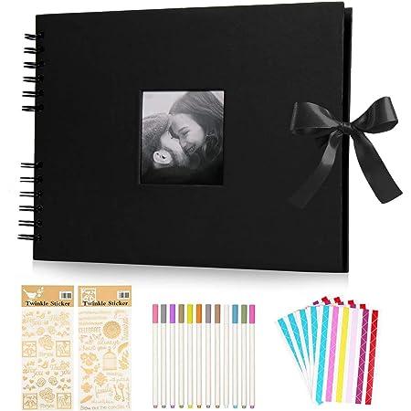 KEAFOLS Album Photo Scrapbooking DIY Album 80 Pages 40 Sheets Bande de Dentelle décorative pour Un Livre d'or Mariage Anniversaire Cadeau Femme St Valentin