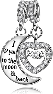 NINAQUEEN I Love You to The Moon and Back 925 Sterling Silver Dangle Charm Beads Mom Mother Daughter Heart Love Charms for Pandöra Bracelet Necklace Jewelry Birthday Gifts for Mom
