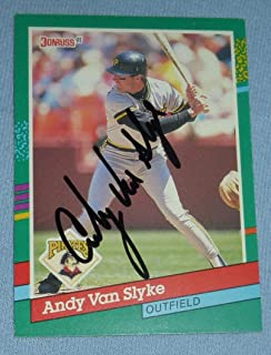 Andy Van Slyke Signed 1991 Donruss Pirates Baseball Card #552 Autograph All Star - Baseball Slabbed Autographed Cards
