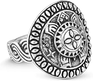 American West Sterling Silver Native Celestial Turtle Shield-Style Ring Size 8 to 13