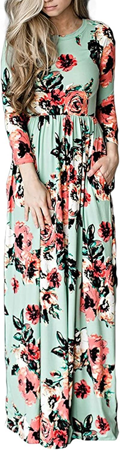 PARTY LADY Women's Casual Floral Printed Short Full Sleeve Maxi Long Dress with Pockets(S3XL)