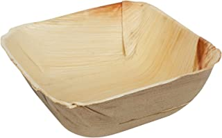 Brheez Palm Leaf Disposable Bamboo Style Square Bowls 5.5