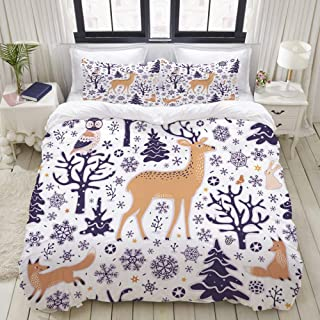 "Mokale Full Size Duvet Cover,Winter Pattern Seamless Background Forest Animals,Decorative 3 Piece Bedding Set with 2 Pillow Shams,Zipper Closure,Ultra Soft 80"" 90"""