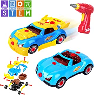 AOKESI Take Apart Toy Racing Car, Toddler Car Construction Toy Kit for Boys and Girls Build Your Own Car Kit Version STEM Toy