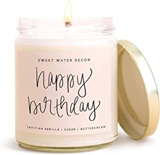 Sweet Water Decor Happy Birthday Candle | Vanilla, Sugar, and Buttercream Sweet Scented Soy Wax Candle for Home | 9oz Clear Glass Jar, 40 Hour Burn Time, Made in the USA
