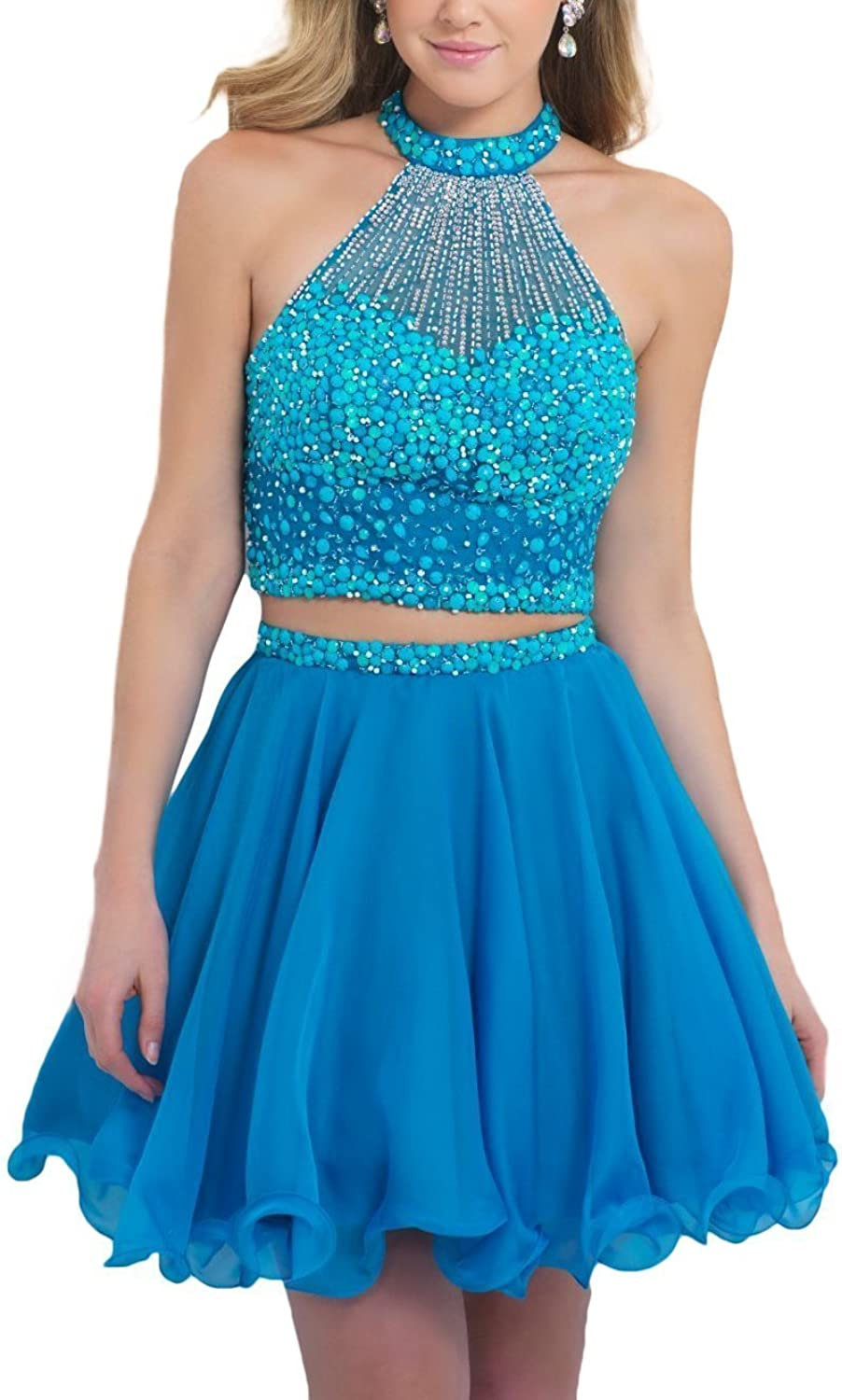 Sound of blossoming Two Pieces Short Homecoming Dress with Beads Prom Gown 017
