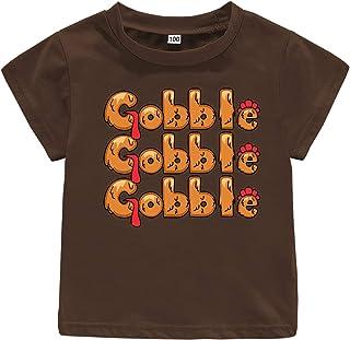 Cute Turkey Face Little Boys Girls Thanksgiving Gobble Short Sleeve T-Shirt Kids Top